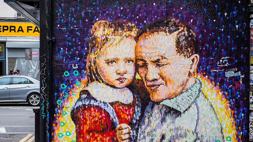 Brick Lane street art - father and daughter